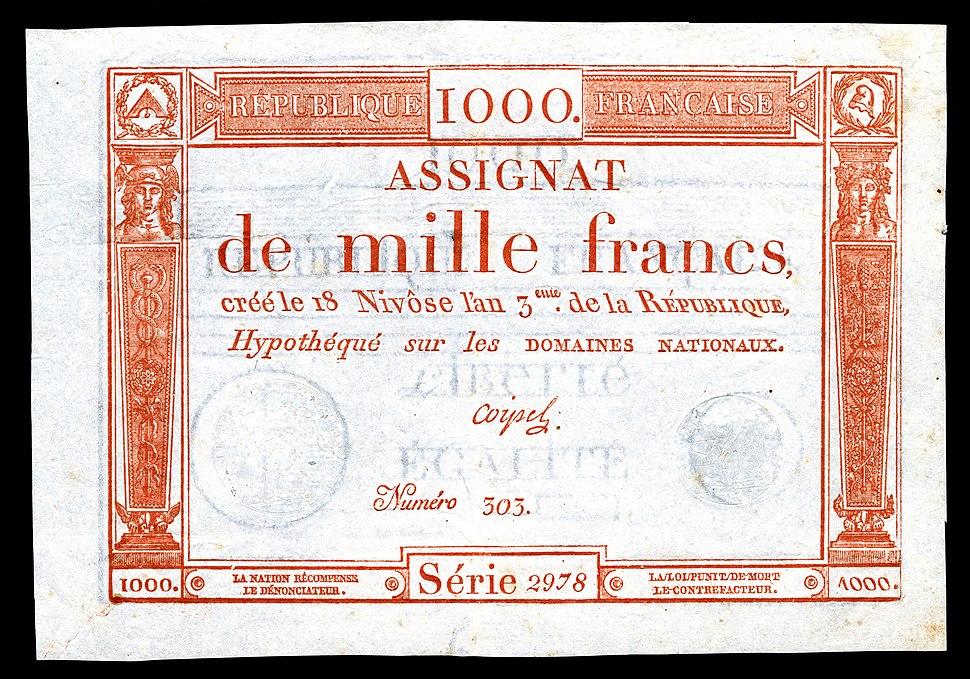 FRA-A80-République Française-1000 francs (1795)