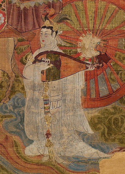 Lute detail from a Tang dynasty painting on silk, 897 A.D.