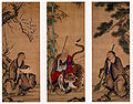 Fengkan Hanshan and Shade Ueno Jakugen Triptych hanging scrolls coloe on silk.jpg