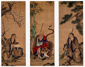 Hanshan (poet) - Hanshan (left), Fenggan (center), and Shide (right). Ueno Jakugen, 18th century, Japan