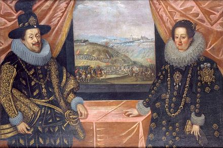 "Ferdinand II, Holy Roman Emperor and his second wife, Eleonora Gonzaga, Princess of Mantua. Even though they had no children, their marriage was perceived to be a ""happy"" one. FerdinandII.Eleonora.JPG"