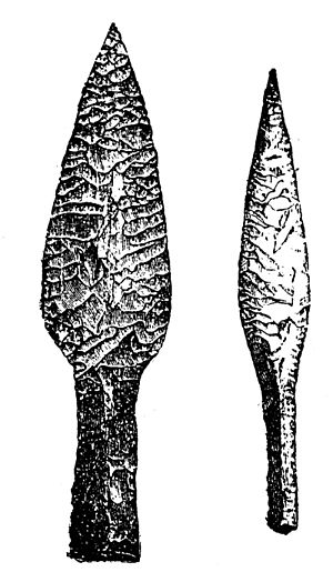 History of poison - An example of a flint sword and spear, weapons used for hunting in ancient times.