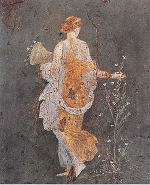 Wall painting from Stabiae: Flora with the cor...