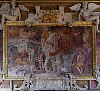 Strapwork - French stucco, scrollwork rather than strapwork, (top and bottom) by Rosso Fiorentino in the Palace of Fontainebleau, 1530s