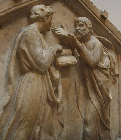 Платон и Аристотель (изображены наоборот), XVв., Лука Делла Роббиа