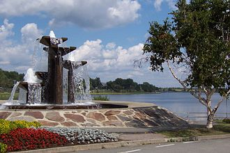 Rouyn-Noranda - Fountain on Osisko Lake.