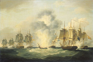 Francis Sartorius - Four frigates capturing Spanish treasure ships, 5 October 1804.jpg