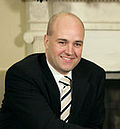 Fredrik Reinfeldt visits Bush at White House, May 15, 2007, cropped to Reinfeldt.jpg