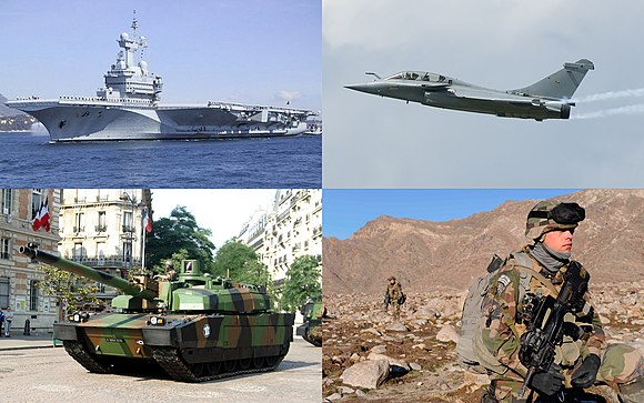 Examples of France's military. Clockwise from top left: nuclear aircraft carrier Charles de Gaulle; a Dassault Rafale fighter aircraft; French Chasseurs Alpins patrolling the valleys of Kapisa province in Afghanistan; a Leclerc tank. French military images.jpg