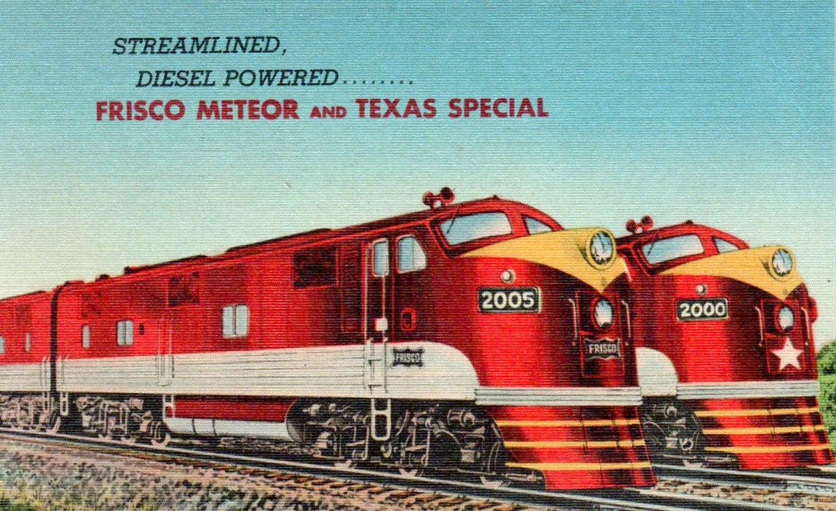 Frisco Railroad Meteor and Texas Special diesel service circa 1948.JPG