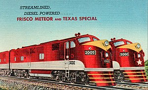 Texas Special - The Texas Special at right, with the Meteor, both with the same paint schemes and diesel locomotives.