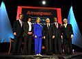 From left, Chairman of the George Washington University (GWU) Board of Trustees Russell Ramsey, CNN Chief International Correspondent Christiane Amanpour, Secretary of State Hillary Rodham Clinton, Secretary 091005-F-DQ383-294.jpg