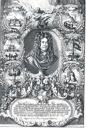 Wolfgang Dietrich of Castell-Remlingen - Print of Wolfgang Dietrich by Ludwig Christoph Glotsch, 1709.