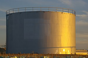 Storage tank - Cylindrical fuel storage tank with fixed roof and internal floating roof. Capacity approx 2,000,000 litres
