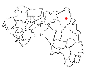 Location of Siguiri Prefecture and seat in Guinea.