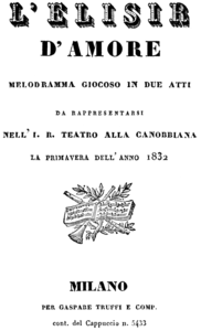 Titelblatt des Librettos, Mailand 1832
