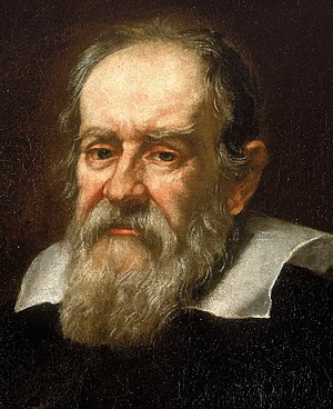 "Galileo Galilei (1564-1642). According to Albert Einstein, ""All knowledge of reality starts from experience and ends in it. Propositions arrived at by purely logical means are completely empty as regards reality. Because Galileo saw this, and particularly because he drummed it into the scientific world, he is the father of modern physics - indeed, of modern science altogether."" Galileo.arp.300pix.jpg"