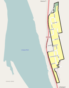 Map of the Gardiner Historic District boundaries.