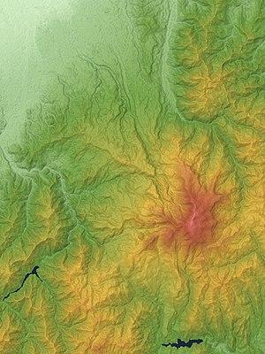 Mount Gassan - Image: Gassan Volcano Relief Map, SRTM 1