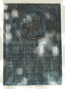 Memorial plaque for Leonhard Euler (1707–1783), Sankt Martin village church.  Riehen, Switzerland