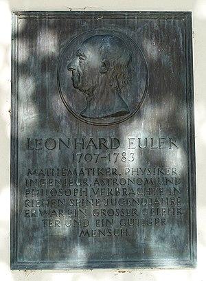 Gedenktafel für Leonhard Euler (1707–1783), Dorfkirche Sankt Martin. Riehen, Schweiz
