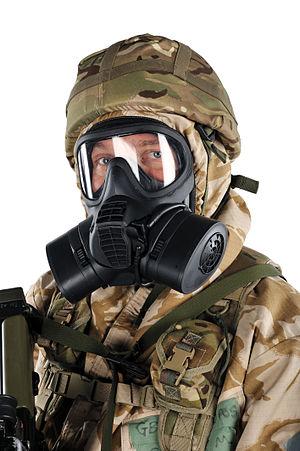 General Service Respirator - British soldier with the GSR