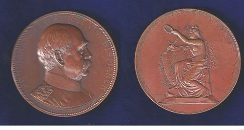 German medal by Schwenzer 1898 (ND) commemorating Bismarck's death German Medal by Schwenzer 1898 (ND) commemorating Bismarck's Death.jpg