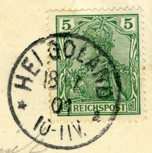 Postage stamps and postal history of Heligoland - Postmark from Heligoland, dated 1901-07-18. 5 pfennig 'Germania stamp'.