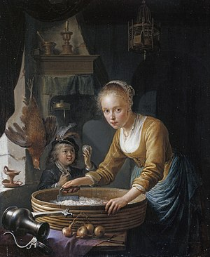 1646 in art - Dou – Girl Chopping Onions, Royal Collection