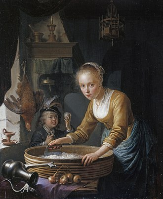 The Milkmaid (Vermeer) - Gerrit Dou, Girl Chopping Onions
