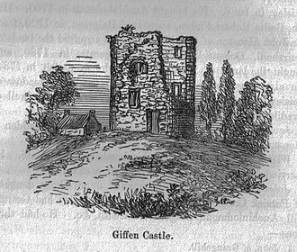Barony and Castle of Giffen - Giffen castle in the 1800s with what is probably the old Giffen Farm, just visible to the left-hand side