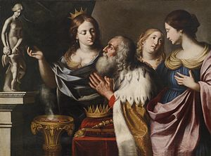 Naamah (wife of Solomon) - Depiction by Giovanni Battista Venanzi of King Solomon being led astray into idolatry  in his old age by his wives, 1668.