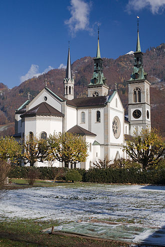 Glarus - Church of Glarus, built in 1861 after a fire destroyed the old church and much of the town of Glarus