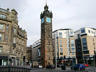 Glasgow city centre - The Tolbooth Steeple dominates Glasgow Cross and marks the east side of the Merchant City.