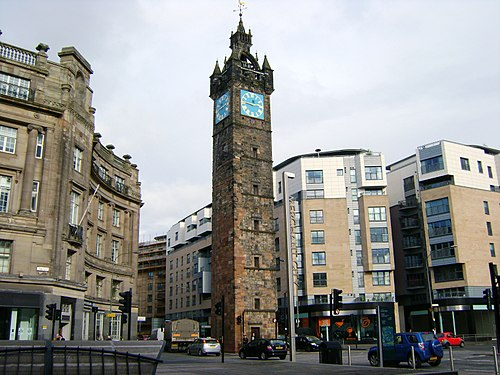 The Tolbooth Steeple dominates Glasgow Cross and marks the east side of the Merchant City. Glasgow Tolbooth Steeple, Glasgow.jpg