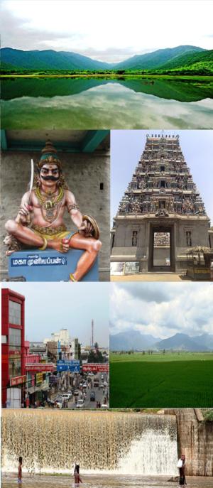 Gobichettipalayam - Clockwise from top: Bhavani River with Western Ghats, Pariyur Kondathu Kaliamman Temple, paddy fields, Kodiveri Dam, Cutchery Medu and Maha Muniappan
