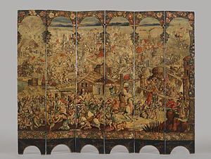 José Sarmiento de Valladares, 1st Duke of Atrisco - A folding screen depicting the Siege of Belgrade commissioned by José Sarmiento de Valladares, most likely displayed in Mexico's viceregal palace. (c. 1697-1701) Brooklyn Museum