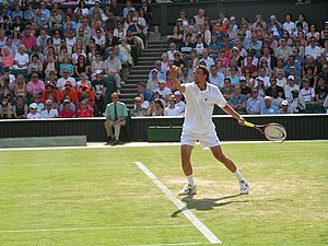 Flat (tennis) - Goran Ivanišević prepares to serve in Wimbledon in 2004. Ivanišević is considered to have one of the greatest serves in tennis history.
