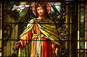 """Grace-St. Luke's Episcopal Church - Detail from """"Christ the Light of the World"""", a turn-of-the-century window at Grace St. Luke's Episcopal Church in Memphis"""