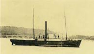 Comox, British Columbia - HMS Grappler, shown here in later service as a packet steamer. brought the first settlers to the Comox Valley in 1862