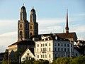 Grossmünster - Limmatquai - Quibrücke 2012-08-08 19-44-00 (WB850F).JPG