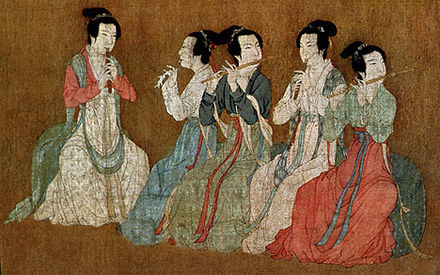 Chinese women playing flutes, from the 12th-century Song dynasty remake of the Night Revels of Han Xizai, originally by Gu Hongzhong (10th century) Gu Hongzhong's Night Revels, Detail 4.jpg