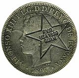 Philippine Spanish Spanish-Philippine peso with stamp commemorating the occupation of Guam by the United States in 1899.