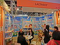 HKCEC Hofex booth Thai Soymilk product brand 大力獅 Lactasoy staff May 2013.JPG