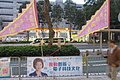 HK 粉嶺 Fanling night Sha Tau Kok Road Lung Yeuk Tau banner 容海恩 Yung Hoi Yan Eunice New People's Party March 2017 IX1.jpg