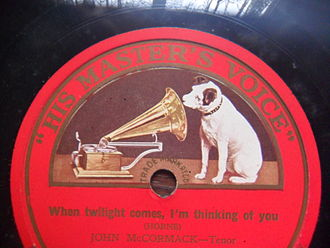 "HMV - A record featuring the ""His Master's Voice"" title and Nipper"