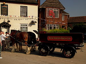 Hook Norton Brewery - Hook Norton Brewery's horse-drawn dray at the Harvester in Long Itchington, Warwickshire, during their 2011 beer festival