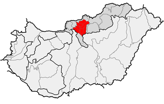 Cserhát - Location of the Cserhát Mountains proper within physical subdivisions of Hungary