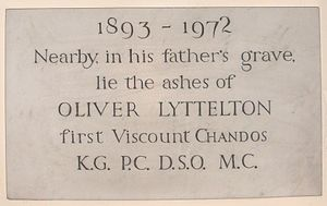 Oliver Lyttelton, 1st Viscount Chandos - St John the Baptist Church, Hagley, memorial to the 1st Viscount Chandos
