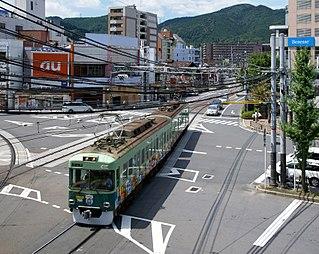 Keihan Ishiyama Sakamoto Line railway line in Otsu, Shiga prefecture, Japan